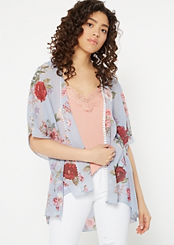 Blue Floral Print Crochet Trim Kimono