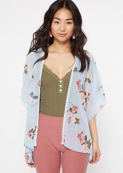 Blue Floral Print Lace Crochet Trim Kimono