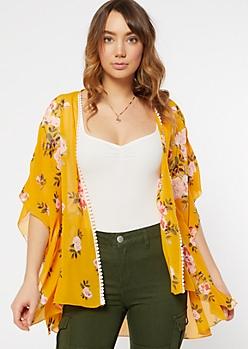 Mustard Floral Print Chiffon Kimono