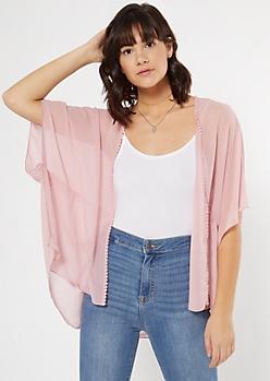 Light Pink Crochet Trim Kimono
