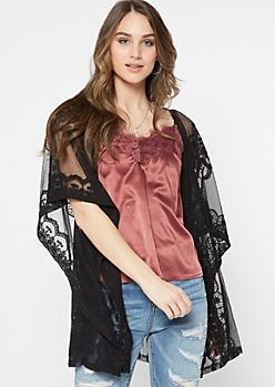 Black Crochet Mesh Open Front Kimono