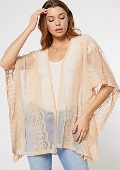 Beige Crochet Mesh Open Front Kimono
