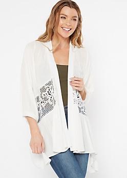 White Crochet Open Front Kimono