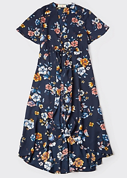 Navy Floral Print Short Sleeve High Low Kimono