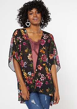 Black Floral Print Crochet Kimono