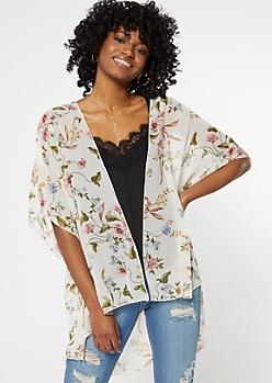 Ivory Floral Print Crochet Kimono