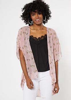 Dusty Pink Floral Print Crochet Kimono