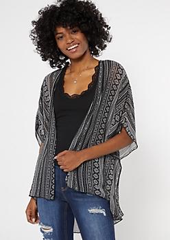 Black Border Print Crochet Kimono