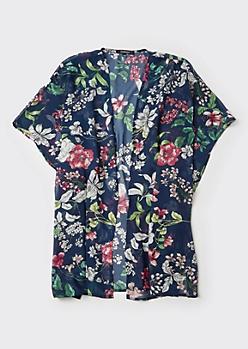Navy Floral Print High Low Seam Split Kimono