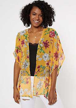 Mustard Floral Print High Low Seam Split Kimono