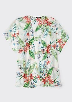 White Tropical Floral Print Kimono