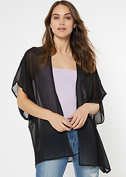 Black High Low Seam Split Kimono