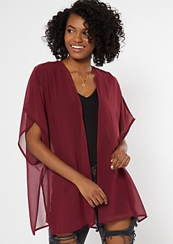 Burgundy High Low Seam Split Kimono