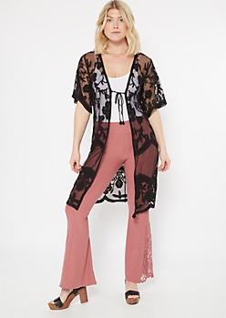 Black Floral Crochet Mesh Tie Front Kimono