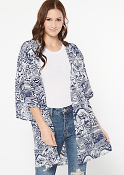 Navy Floral Print Striped Crochet Kimono