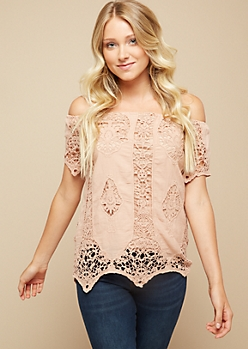 Pink Off Shoulder Crochet Top