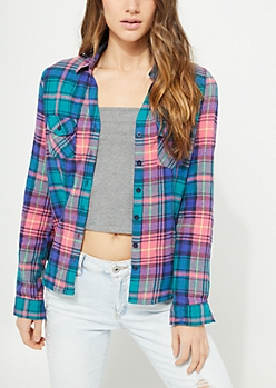 Pink Plaid Print Flannel Top