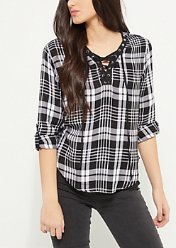 Black Plaid Print Lace Up Shirt