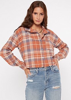 Orange Plaid Print Frayed Button Down Crop Top