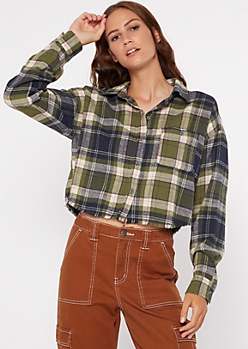 Olive Plaid Print Frayed Button Down Crop Top