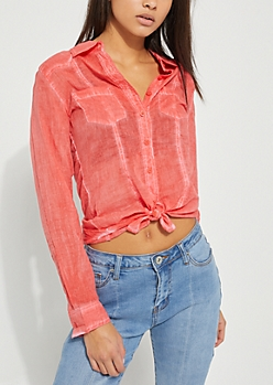Pink Washed Button Down Shirt