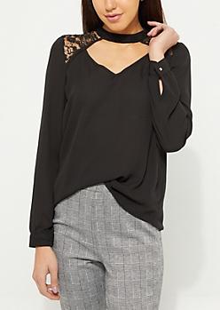 Black Lace Cutout Detail Blouse