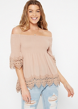 Taupe Off The Shoulder Smocked Crochet Top