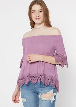 Dusty Lavender Smocked Crochet Top