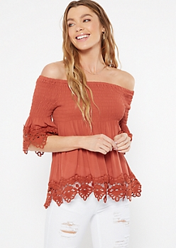Burnt Orange Off The Shoulder Smocked Crochet Top