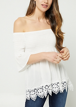 White Crocheted Off Shoulder Top