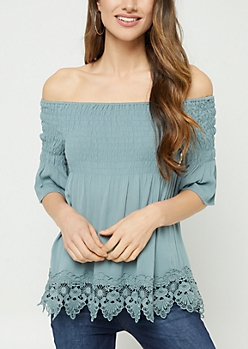 Light Olive Crocheted Off Shoulder Top