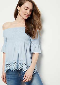 Light Blue Off The Shoulder Crochet Trim Blouse