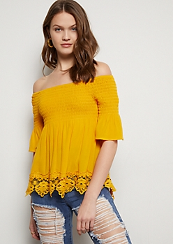 Mustard Off The Shoulder Crochet Trim Blouse