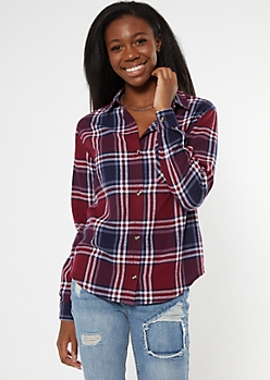 Burgundy Plaid Boyfriend Flannel Shirt