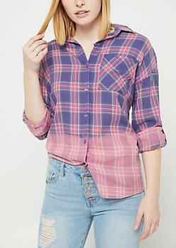 Pink Dip Dyed Plaid Print Button Down Top