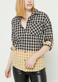 Black Dip Dyed Plaid Print Button Down Top