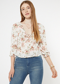 Ivory Floral Print O-Ring Peasant Top