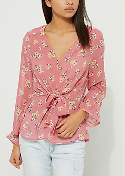 Pink Floral Peplum Tie Front Blouse