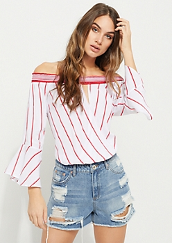 Red Striped Off Shoulder Surplice Top