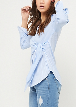 Blue Contrasting Stripe Wrap Top