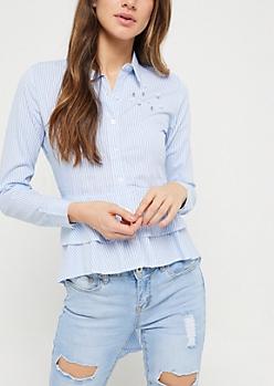 Blue Stripe High Low Button-Down Shirt