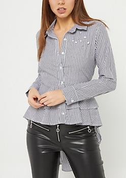 Black Stripe High Low Button-Down Shirt
