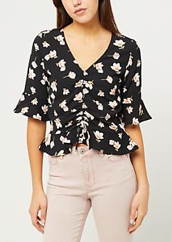 Black Floral Print Ruched Crop Top