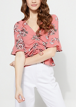 Pink Floral Cinched Bell Sleeve Top