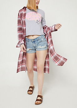 Burgundy Plaid Print Button Down Duster