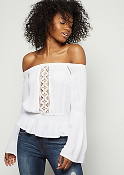 White Crochet Off The Shoulder Peplum Top