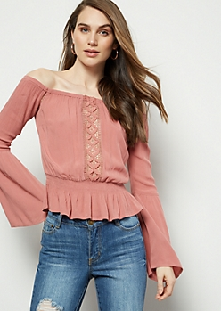 Pink Crochet Off The Shoulder Peplum Top