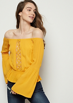Mustard Crochet Off The Shoulder Peplum Top