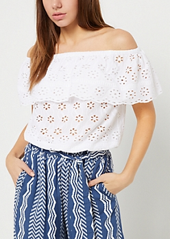 Ivory Embroidered Off Shoulder Flounce Top