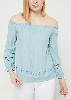 Blue Off Shoulder Crocheted Trim Top